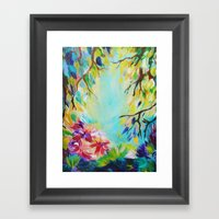 BLISS - Stunning Bold Colorful Idyllic Dream Floral Nature Landscape Secret Garden Acrylic Painting Framed Art Print