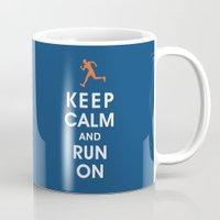 Keep Calm and Run On (male runner) Mug