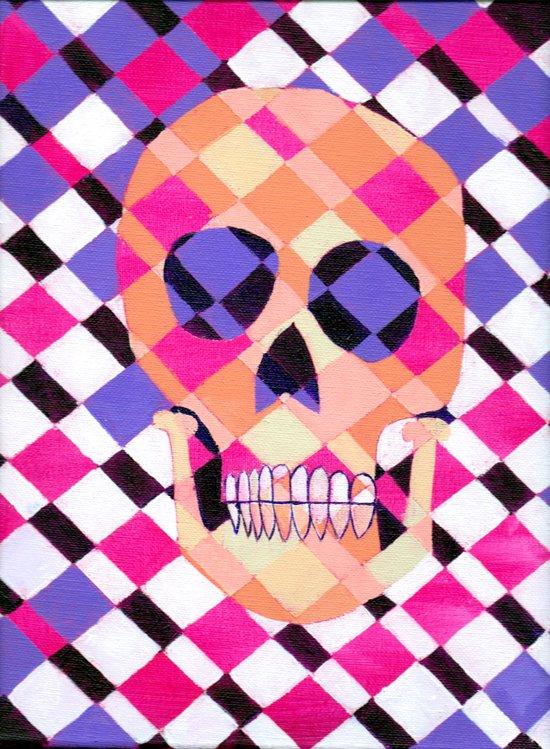 skulladelic pink plaid Art Print