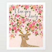 Love Deer Valentines Day… Art Print