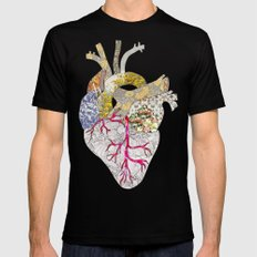 my heart is real SMALL Mens Fitted Tee Black