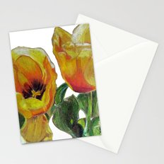 Bright Yellow Tulips Flower Drawing Stationery Cards