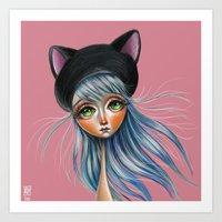 Kit Cat :: Girl in Her Kitty Hat Illustration Art Print
