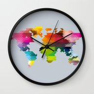 Wall Clock featuring Geo World Map by Three Of The Possess…