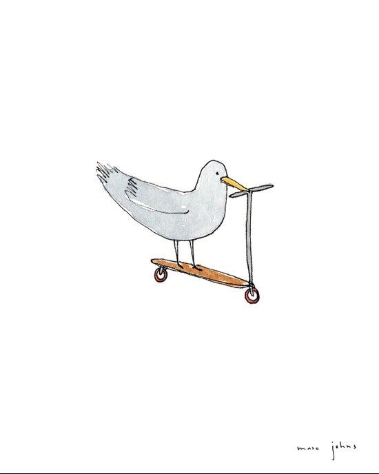 bird on a scooter Art Print