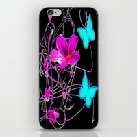 Flowers And Butterflies iPhone & iPod Skin