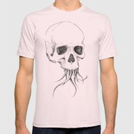 Skull With Tentacles Mens Fitted Tee Light Pink SMALL
