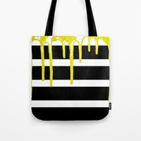 Striped Drip Yellow Tote Bag