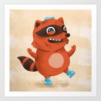 Rollerblade Raccoon Art Print