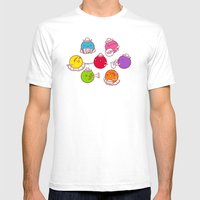 Polka Dots Mens Fitted Tee White SMALL