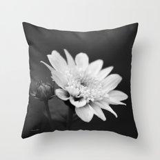 Black and White Flower Throw Pillow