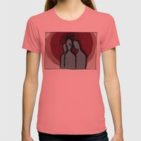 Three Womens Fitted Tee Pomegranate SMALL