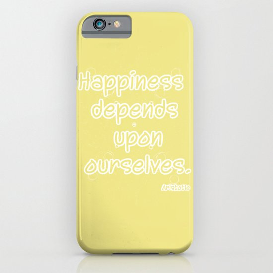 Yellow Aristotle Happiness quote typography iPhone & iPod Case