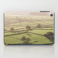 Hazy light at sunset over a valley of fields. Derbyshire, UK. iPad Case