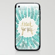 iPhone & iPod Skin featuring Treat Yo Self – Gold &… by Cat Coquillette