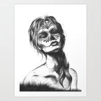 sugar skull Art Prints featuring Sugar Skull by Lena Safaniouk