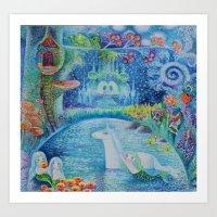 Bathing of unicorn Art Print