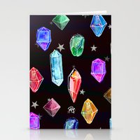 Crystals and Glitter Stars Stationery Cards