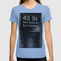 42nd Street Subway Stop Womens Fitted Tee Athletic Blue SMALL