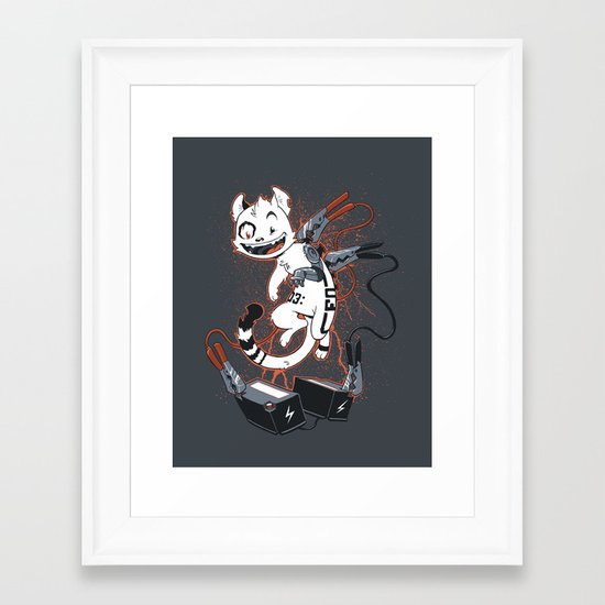 Cybercat Charges Up Framed Art Print