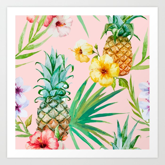 Sunday's Society6 - Tropical art print with flowers and pineapples