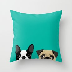 B Terrier & Pug Throw Pillow