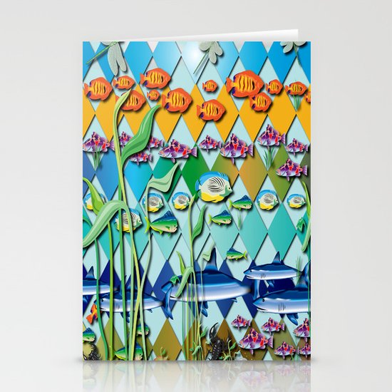 Rendition of a Fish Pattern Stationery Card