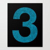 Three - Blue Canvas Print