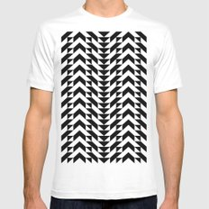 Geometric Chevrons SMALL White Mens Fitted Tee