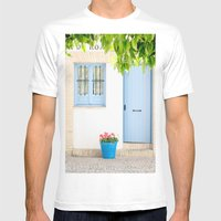 Blue and light Mens Fitted Tee White SMALL