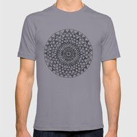 Doily In B&W Mens Fitted Tee Slate SMALL