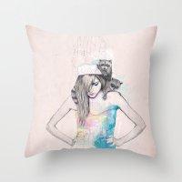 Raccoon Love Throw Pillow
