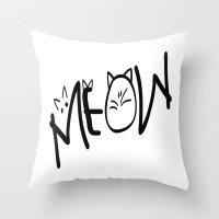 MEOW  typography Throw Pillow