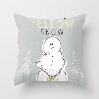 Never Eat Yellow Snow Throw Pillow