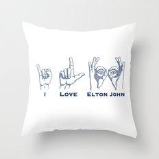 I Love Elton V2 Throw Pillow