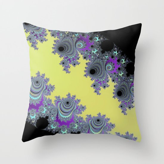 Asymmetrical Fractal in Yellow, Black and Purple Throw Pillow