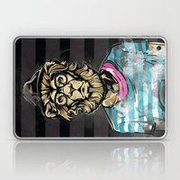 Hipster Lion on Black Laptop & iPad Skin