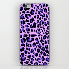 Blue and Black Leopard Print in Soft Pink iPhone & iPod Skin