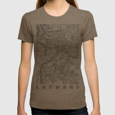 Antwerp Map Line Womens Fitted Tee Tri-Coffee SMALL