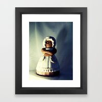 Menacing Ceramic/Burlap Horror Doll Framed Art Print
