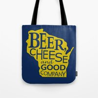 Blue and Gold Beer, Cheese and Good Company Wisconsin Graphic Tote Bag