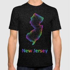 Rainbow New Jersey map Mens Fitted Tee Tri-Black SMALL