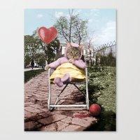 Pretty little Kitty with a heart balloon Canvas Print
