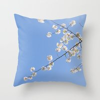 Sky Gazing, Nature Photography, Blossom Print, Blue Wall Art, Minimalist Spring Blossoms Throw Pillow