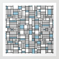 Map Lines Sky Blue Art Print