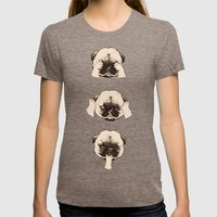 No Evil Pug  Womens Fitted Tee Tri-Coffee SMALL