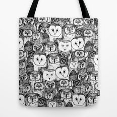 just owls black white Tote Bag