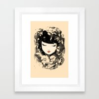Ink Flower Girl Framed Art Print