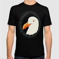 Eat Like A Seagull  Mens Fitted Tee Black SMALL