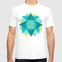 Abstract Lotus Flower - Yoga Print Mens Fitted Tee White SMALL